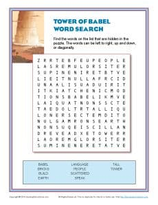 Tower Of Babel Word Search Old Testament Word Search Puzzle
