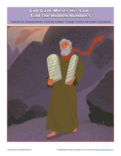 10 Commandments Hidden Numbers Activity