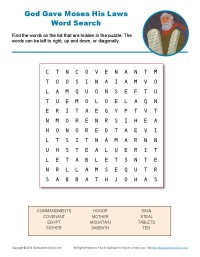 10 Commandments Word Search Kids 39 Bible Word Games and