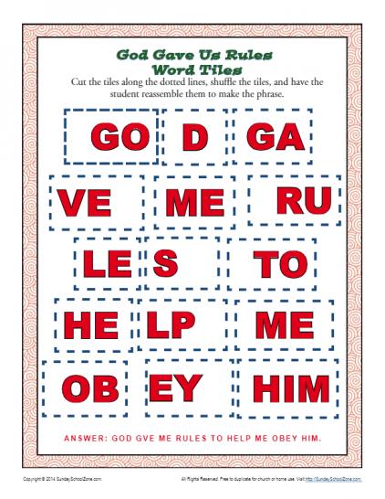 10 Commandments Word Tiles