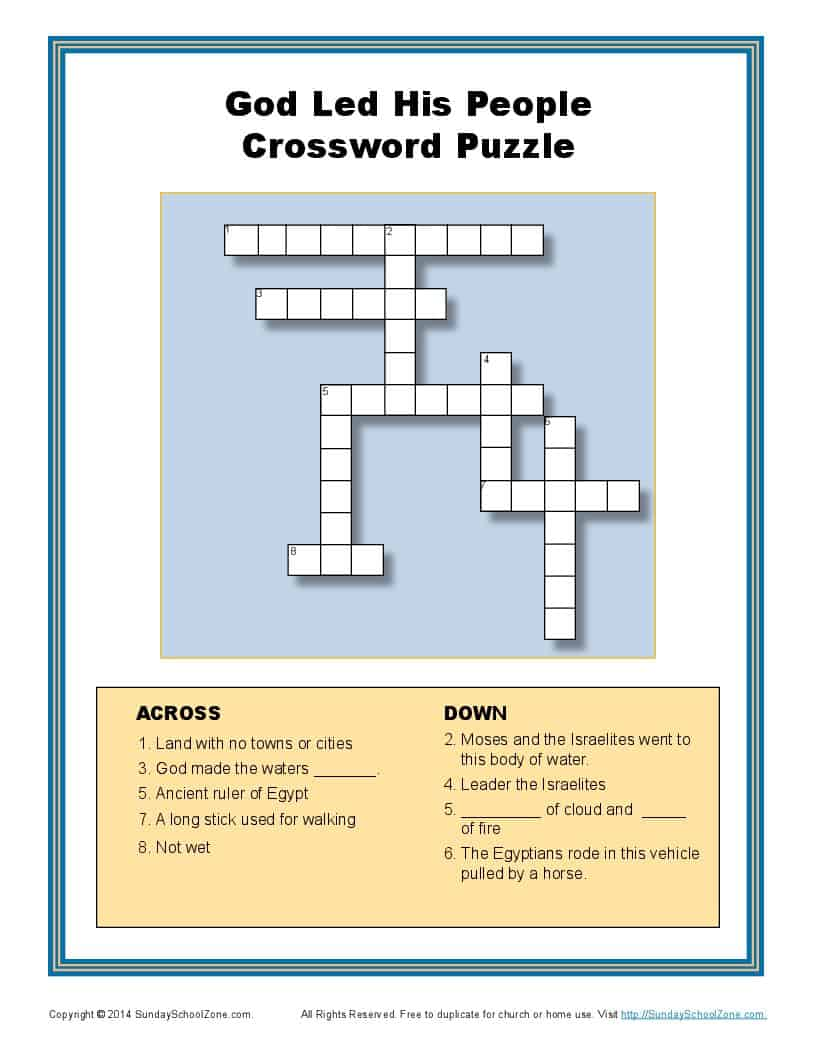 God Divided The Red Sea Crossword Bible Puzzles For Children