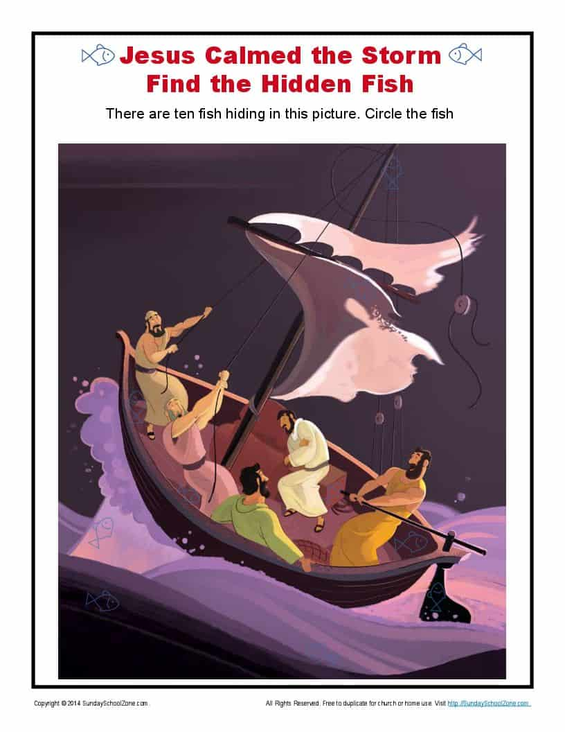 Jesus Calmed the Storm Hidden Fish