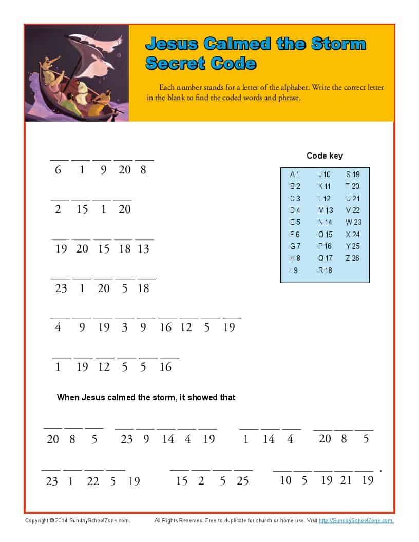 Jesus Calmed The Storm Secret Code Kids Bible Puzzles