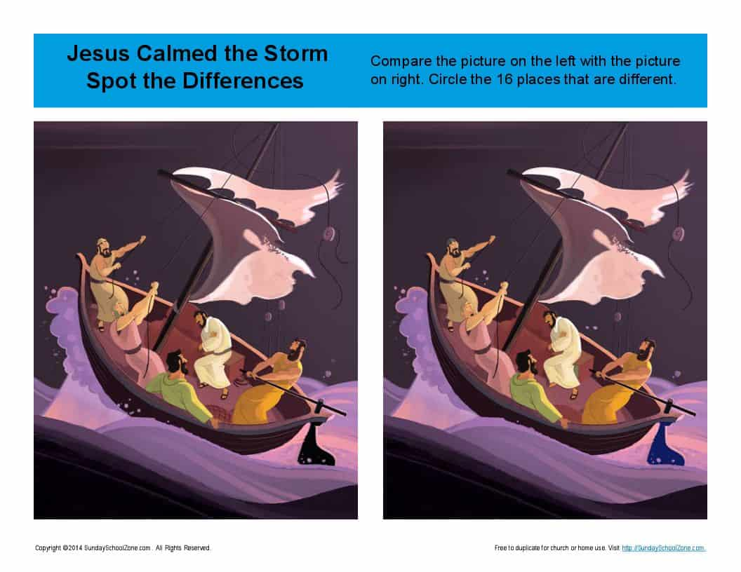 Jesus Calmed The Storm Spot The Differences Bible Activities