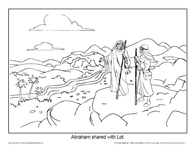 Abraham Coloring Page Printable - Abram and Lot Separate