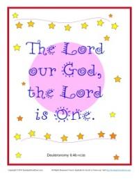 Bible Verses for Kids Poster - Deuteronomy 6:4