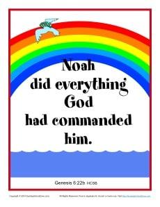 Bible Verses For Kids Printable Poster Genesis 6 22b