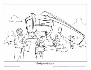 Noah Coloring Page Printable Sheet - God Guided Noah