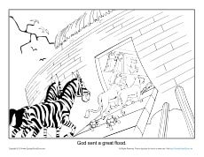 Noah Coloring Page Printable - God Saved the Animals