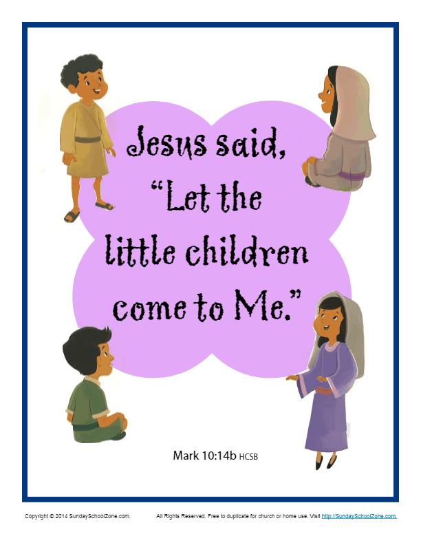 Bible Verses For Kids Printable Poster Mark 10 14b