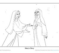 Christmas coloring page printable sheet mary 39 s story for Mary visits elizabeth coloring page