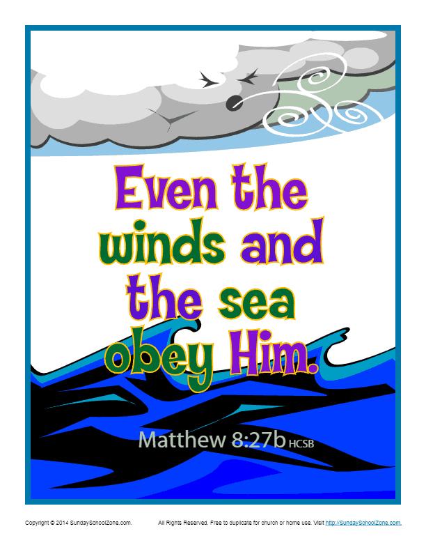 Bible Verses For Kids Printable Poster Matthew 8 27b