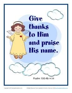Bible Verses For Kids Printable Poster Psalm 100 4b