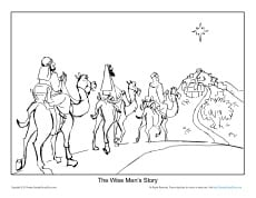Printable Christmas Bible Coloring Sheet for Kids - The Wise Men