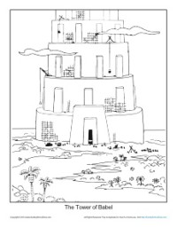 tower of babel coloring pages - the tower of babel coloring page printable sheet