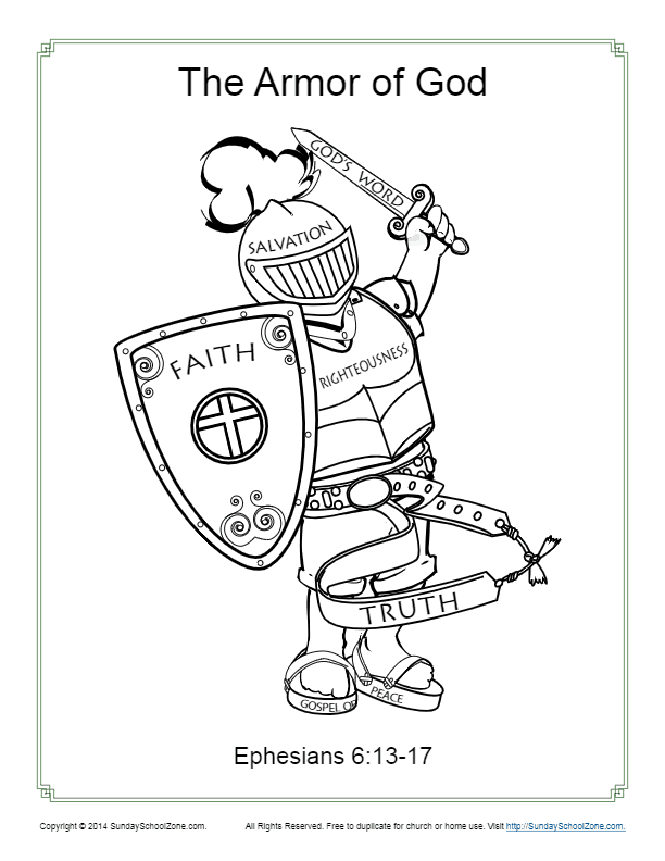 picture about Armor of God Printable Coloring Page known as Armor of God for Youngsters Routines upon Sunday Higher education Zone