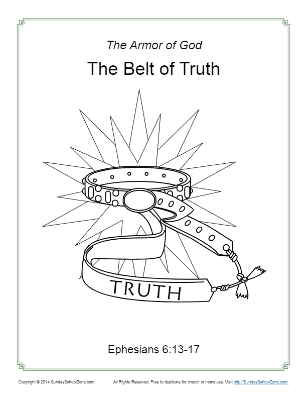 Belt of Truth Coloring Page Armor
