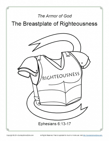 Breastplate Of Righteousness Coloring Page Armor Of God For Kids