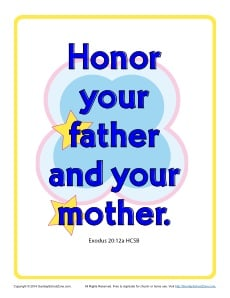 Honor your father and your mother 10 commandments poster for Honor your father and mother coloring page