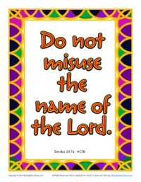 Do Not Misuse the Name of the Lord - 10 Commandments Poster