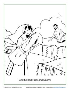 God Helped Ruth and Naomi Coloring Page