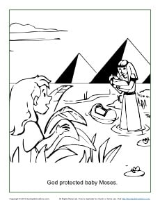 God Protected Baby Moses Coloring Page