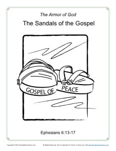 sandals of the gospel coloring page armor of god for