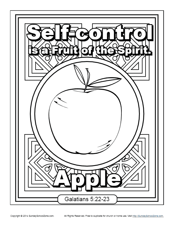Fruit Of The Spirit For Kids Self Control Coloring Page