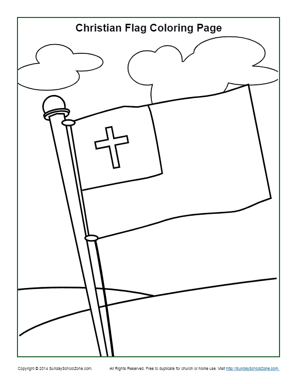 Christian Flag Coloring Page Sunday School Activities For Kids