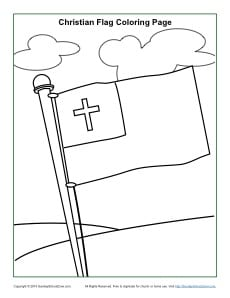 christian flag coloring page sunday school activities
