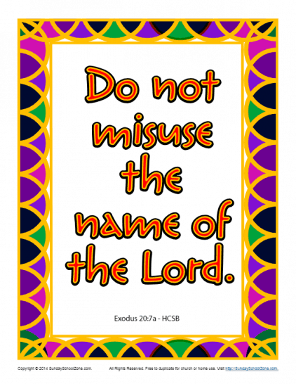 Do Not Misuse the Name of the Lord Scripture Page
