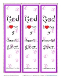 God Loves a Cheerful Giver - Printable Bookmarks