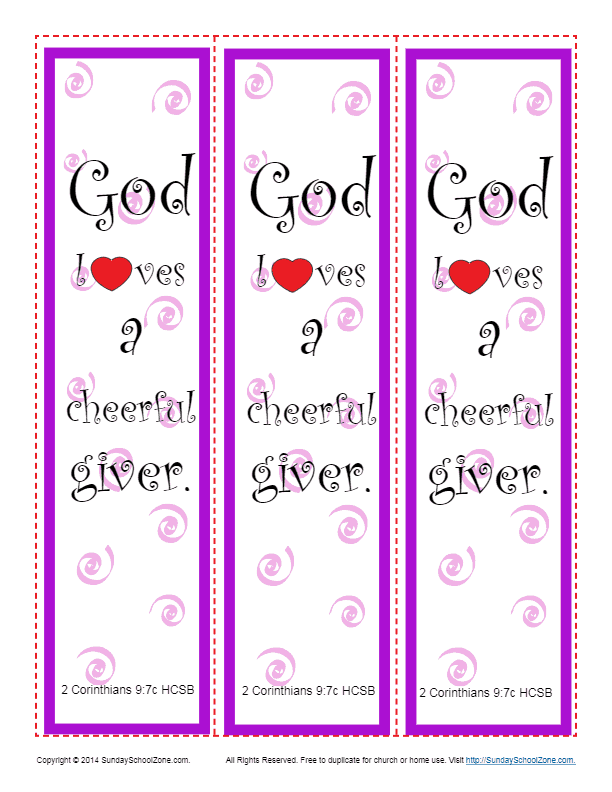 God Loves A Cheerful Giver Bookmark Sunday School Activity