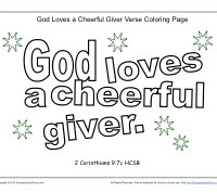 God Loves a Cheerful Giver - Printable Coloring Page