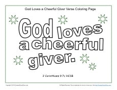 God Loves a Cheerful Giver Coloring