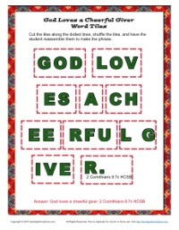 God Loves a Cheerful Giver Word Tiles Activity