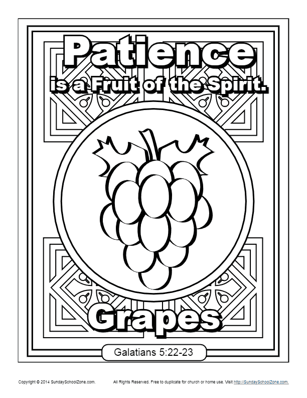 Fruit Of The Spirit For Kids Patience Coloring Page