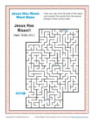 Jesus Has Risen Easter Word Maze On Sunday School Zone