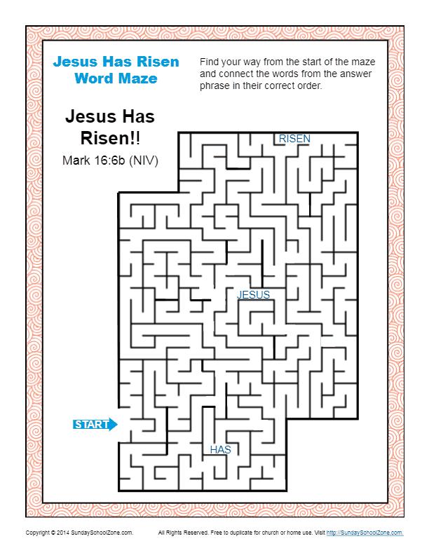 Jesus Has Risen Easter Word Maze