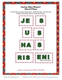 Jesus Has Risen Word Tiles Activity