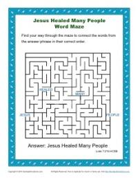 Jesus Healed Many People - Word Maze Sunday School Activity for Kids