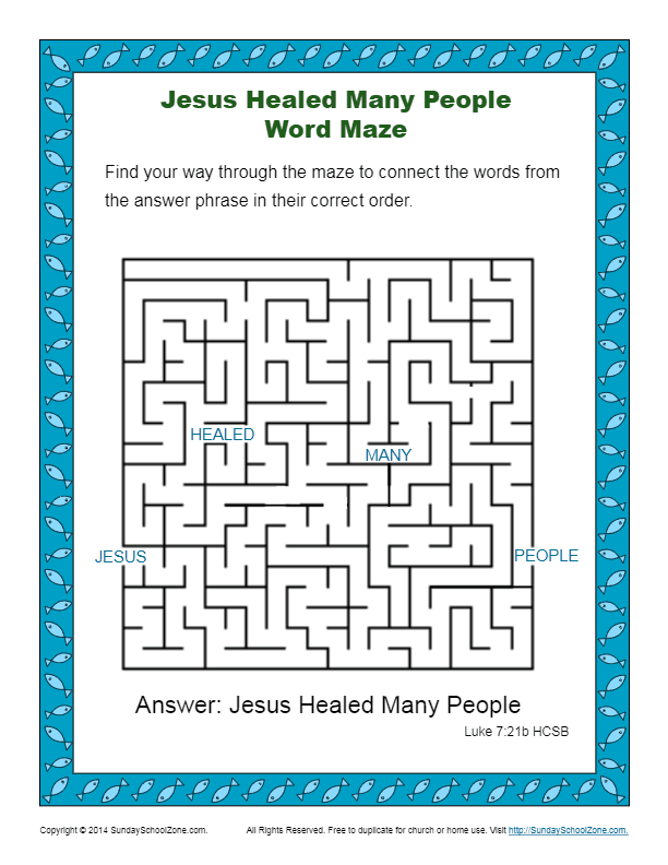 Free Bible Mazes For Children On Sunday School Zone