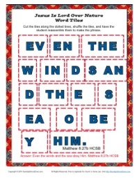 Jesus is the Lord over Nature - Printable Word Tile Activity for Kids