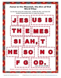 Jesus is the Messiah Word Tile - Sunday School Activity for Kids