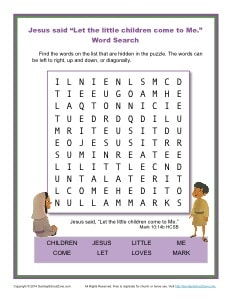 let the children come to me word search bible activities