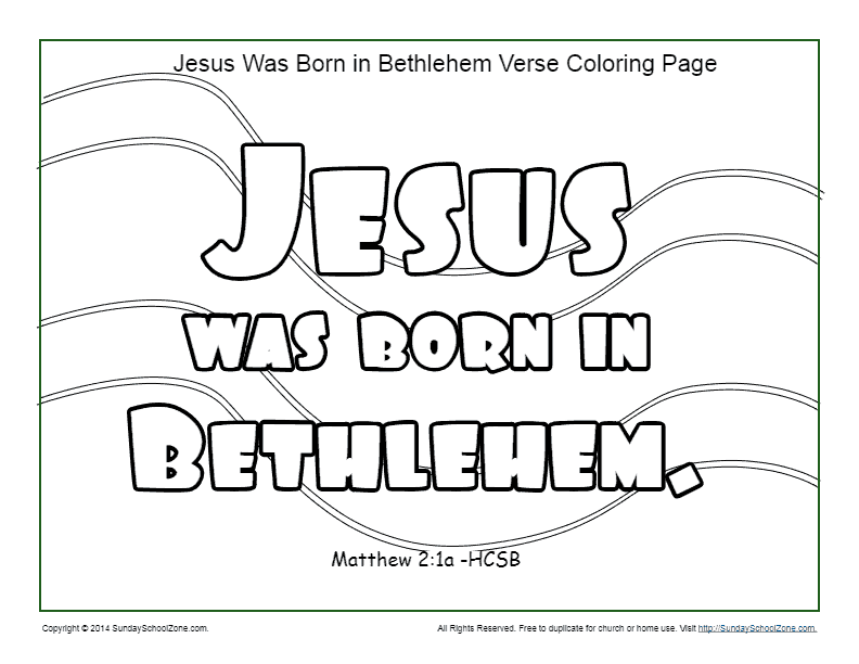 Jesus Was Born In Bethlehem Coloring Page