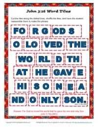 John 3-16 Printable Word Tile Activity for Kids