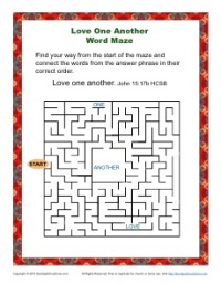 Love One Another - Printable Word Maze Activity for Kids