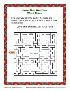 Love One Another Word Maze Bible