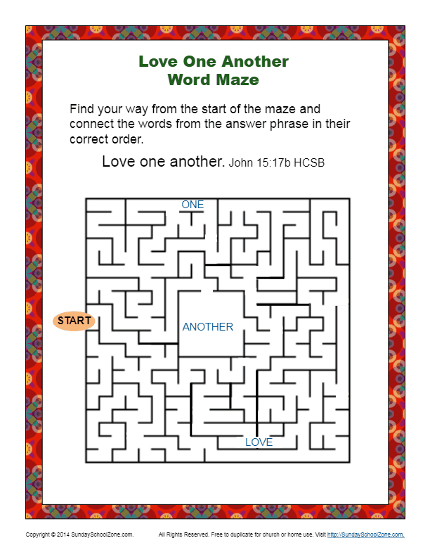 Love One Another Word Maze Bible Activity for Kids